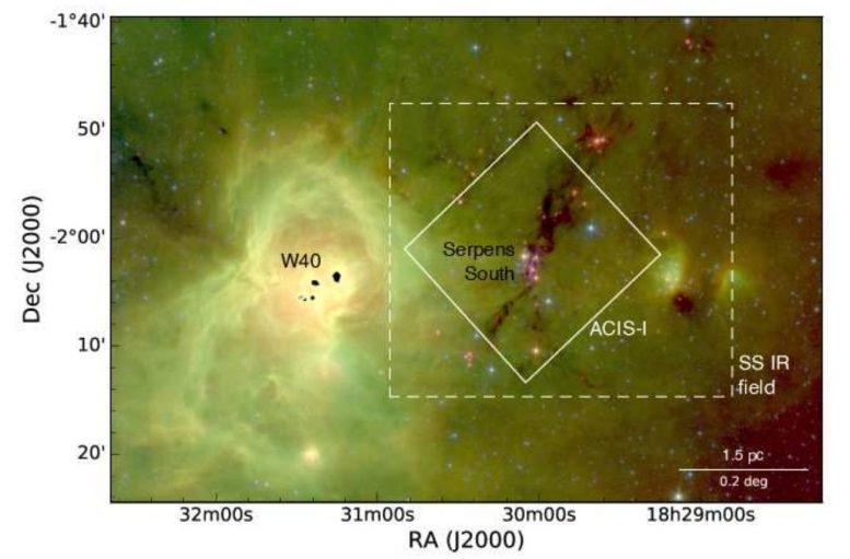 钱德拉(Chandra)在Serpens南部星团中发现无盘年轻恒星