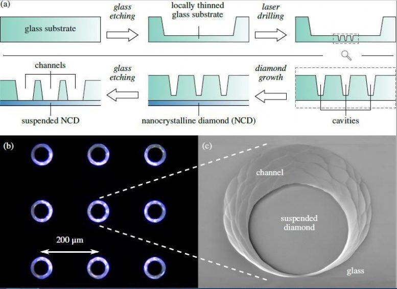 新玻璃和纳米结构的合成金刚石基础